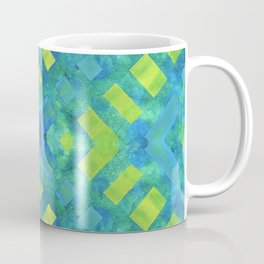 Green and blue geometric abstract motif, hand painted elements Coffee Mug