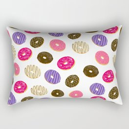 Modern cute pastel hand drawn donuts pattern food illustration Rectangular Pillow