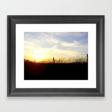 Sunset Behind the Fence Framed Art Print