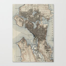 Vintage Map of Seattle Washington (1908) Canvas Print