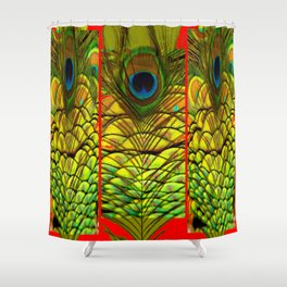 ART DECO RED GOLDEN-GREEN PEACOCK  PATTERN Shower Curtain