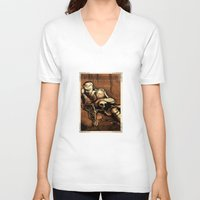 denmark V-neck T-shirts featuring Hamlet Prince of Denmark by Immortal Longings