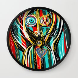 Blue heart Street Art Graffiti Wall Clock
