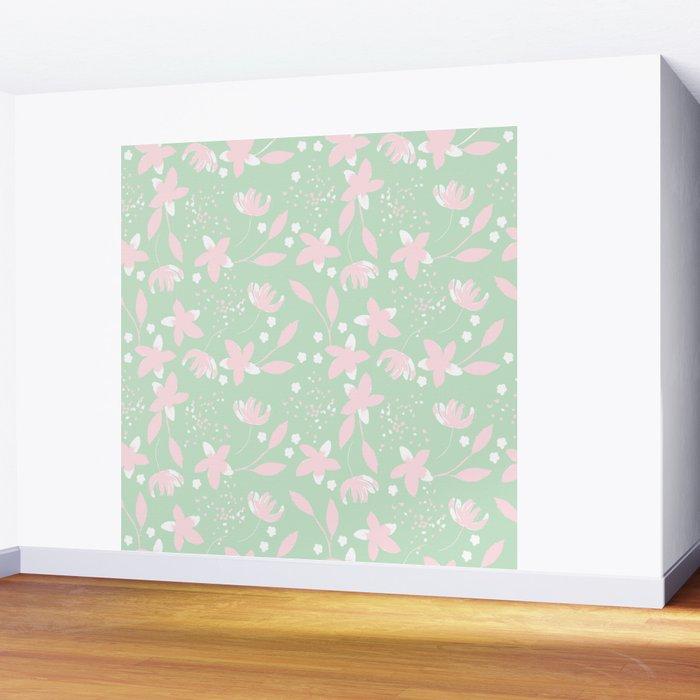 Pastel little flowers Wall Mural