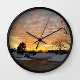 Winter Sunset, Chicago, 2018 Wall Clock