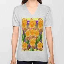 Purple Tinged Golden Yellow Garden Roses Green Art Unisex V-Neck