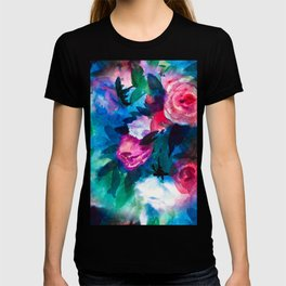 Watercolor Rose Medley with Sea Blue and Teal T-shirt
