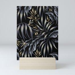Jurassic Jungle - Grey Gold Mini Art Print