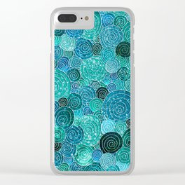 Abstract blue& green glamour glitter circles and dots for Girls and ladies Clear iPhone Case