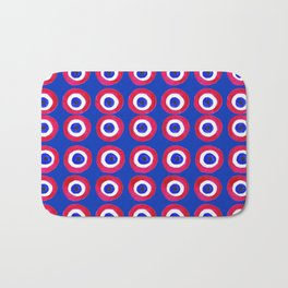 Donut Evil Eye Amulet Talisman - red on blue doughnut Bath Mat