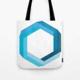 Impossible shape: blue hexagon Tote Bag