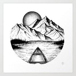 Canoe in the morning Art Print