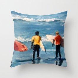 Crown City Surf Kids Throw Pillow