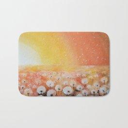 Sunrise and Dandelions, Watercolor Bath Mat