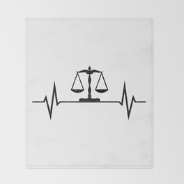 Scales Of Justice Heartbeat Lawyer Judge Throw Blanket
