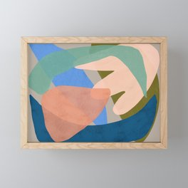 Shapes and Layers no.30 - Large Organic Shapes Blue Pink Green Gray Framed Mini Art Print
