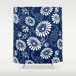 Vintage Flowers on Deep Blue Shower Curtain