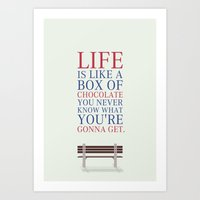 forrest gump Art Prints featuring Lab No. 4 - Forrest Gump Movies Inspirational Quotes Poster by Lab No. 4