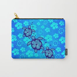 3 Blue Honu Turtles Carry-All Pouch
