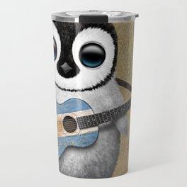 Baby Penguin Playing Argentine Flag Guitar Travel Mug