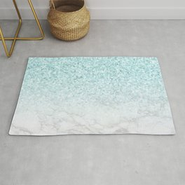 Turquoise Glitter and Marble Rug