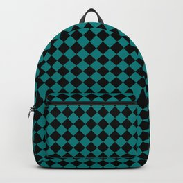Black and Teal Green Diamonds Backpack