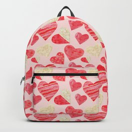 red hearts pattern pink Backpack