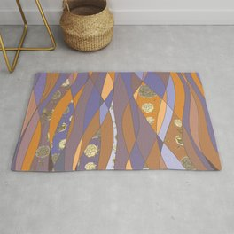Abstract pattern with floral collage Rug