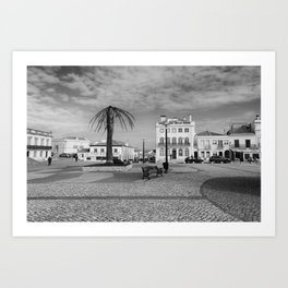 Nazare Plaza - BW Art Print