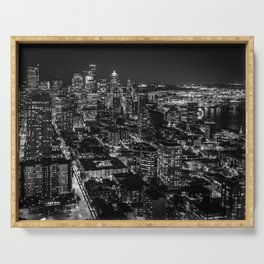 Seattle from the Space Needle in Black and White Serving Tray