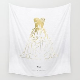 Little Gold Ball Gown Dress Wall Tapestry
