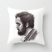 kubrick Throw Pillows featuring Stanley Kubrick by Laurent Samani