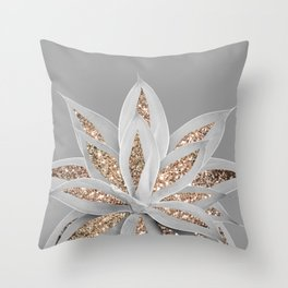 Gray Agave with Gold Glitter #1 #shiny #tropical #decor #art #society6 Throw Pillow