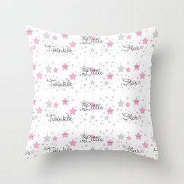 Twinkle Little Star Pink Baby Girl Nursery Throw Pillow