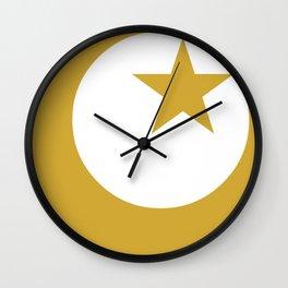 Golden Star & Crescent Wall Clock
