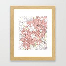 Lafayette Louisiana Map (1983) Framed Art Print