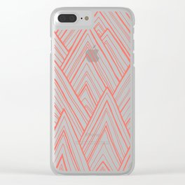 Stripe Mountains - Living Coral Clear iPhone Case