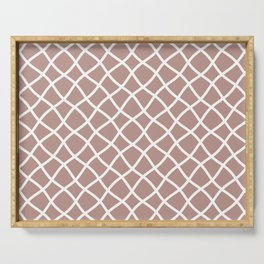 Neutral beige and white curved grid pattern Serving Tray
