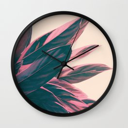 Pink Kalathea Wall Clock