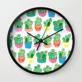 Cacti in fancy pots with smily faces. Wall Clock
