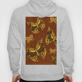 Brown Folk Butterflies Hoody
