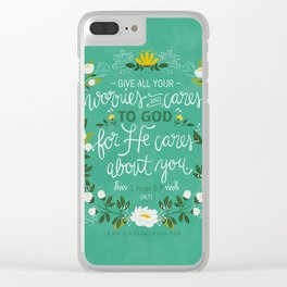 1 Peter 5:7 NLT Clear iPhone Case