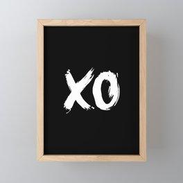 XO Hugs and Kisses white and black gift for her girlfriend xoxo bedroom art and home room wall decor Framed Mini Art Print