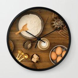 Basic baking ingredients Wall Clock