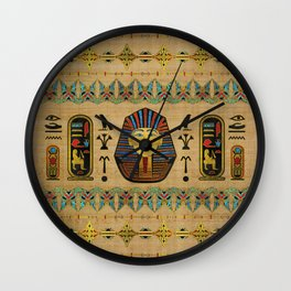 Egyptian Sphinx Ornament on papyrus Wall Clock