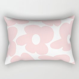Large Baby Pink Retro Flowers on White Background #decor #society6 #buyart Rectangular Pillow