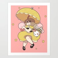 puppycat Art Prints featuring Bee and Puppycat by Kaciel