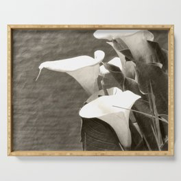 Calla Lily Flower Sepia Photo Serving Tray