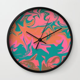 Purple storm, abstract hurricane in orange, blue and purple Wall Clock