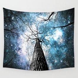 Wintry Trees Galaxy Skies Steel Teal Blue Wall Tapestry